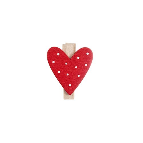 Polka Dot Heart Peg 3cmD (8pk)