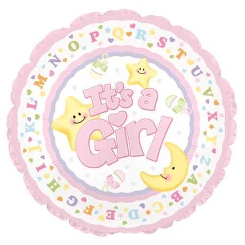 17 Inch helium balloon - it's a girl moon & star