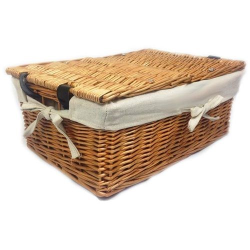 Medium Double Lid Basket Hamper Lined - 40x28x22cm