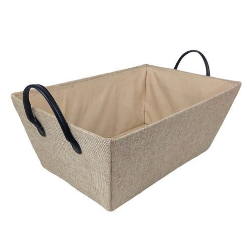 Fabric Covered  Basket Tray - 30x20x14cmH