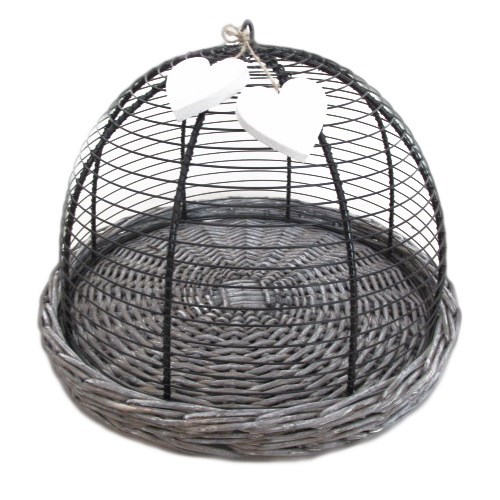 Wicker Basket Tray with wire food cover - 33cm Dia
