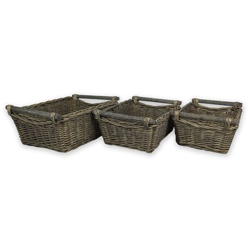 Wood Handle Set/3 wicker baskets