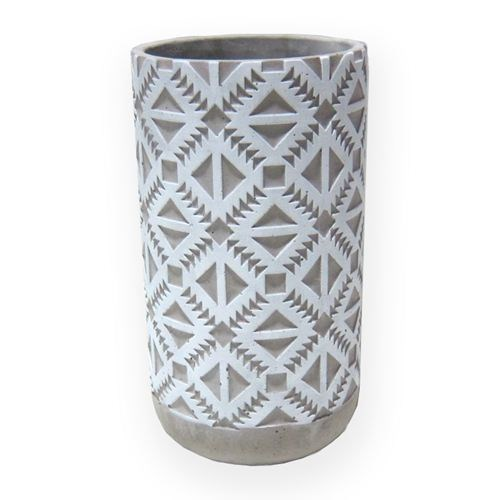 Aztec Cement Pot White Tall - 14x14x26cmH