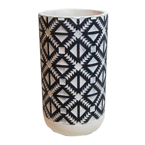 Aztec Cement Pot Black Tall - 14x14x26cmH