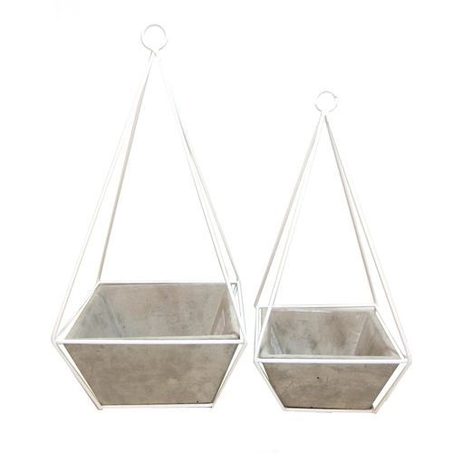 Cement Hanging Planter Medium - 15*15*33cmH