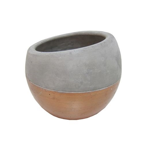 Small Cement Tapered Bowl 1/2 Copper - 12*12*10.5c