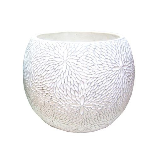 Cement Patterned Round Pot - White