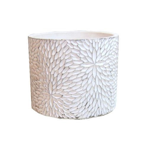 White Cement Patterned Round Pot Small - 12*12*10c