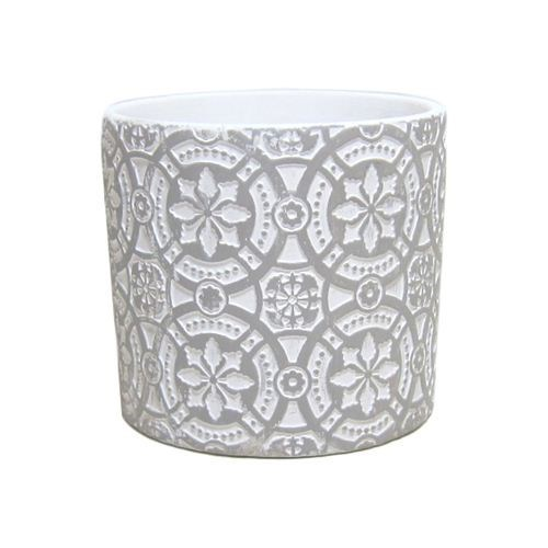 White Cement Round Pattern Pot  - 13.5*13.5*12.5cm