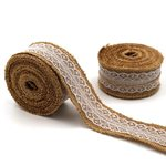 Hessian Ribbon with Lace 40mm - Natural/White