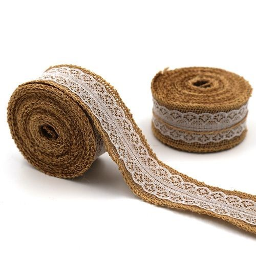 Hessian Ribbon with Lace 40mm