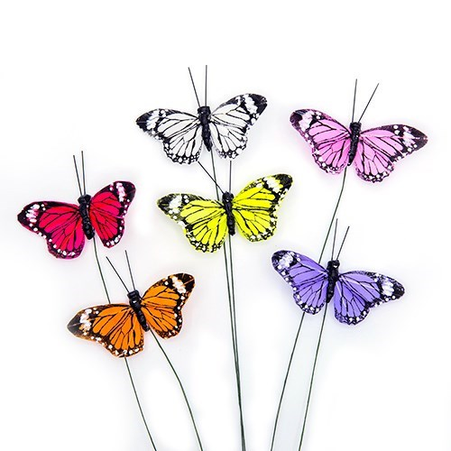 Butterflys on 25cm wire stem  7 x 3.5cm - 6 assort
