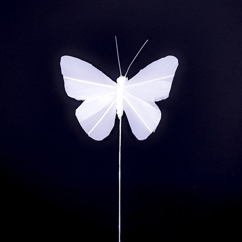 White Feather Butterfly 8 x 5cm - 6 pcs