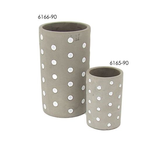 Cement Round Pot White Dot - 9.5*9.5*14.5cmH