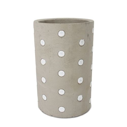 Cement Round Pot White Dot - 14*14*24.5cmH
