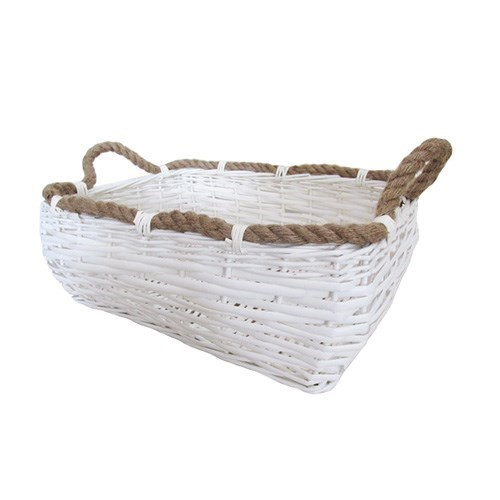 White Rectangle Basket 39cmL x 30cmW x 16.5cmH