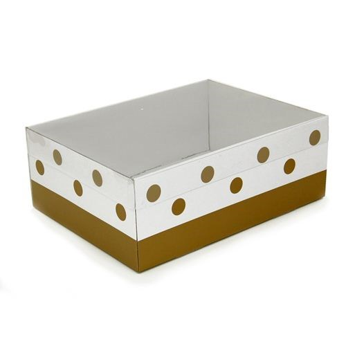 Gift Box With Gold Dots and Clear Lid