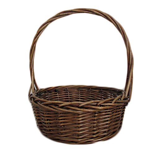 Round Willow Basket - 34cmdia x 13cmH x40cmHH