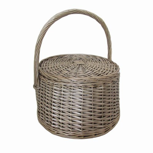 Round Willow Basket With Lid