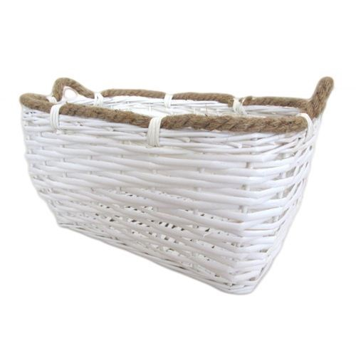 White Rectangle Basket - 32cmL x 20.5 x 16.5cmH