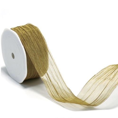 Metallic Crinkle Cut Edge Ribbon - Gold 38 x 10m