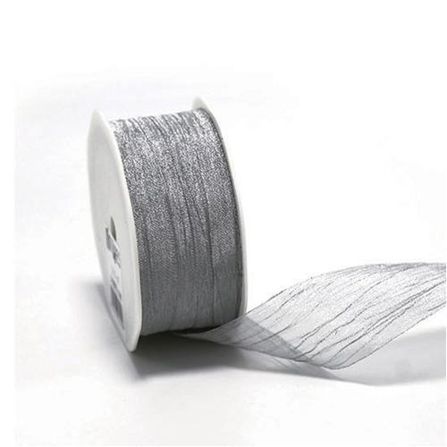 Metallic Crinkle Cut Edge Ribbon - Silver 38 x 10m