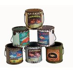 Rustic Paint Cans (set of 6) - Flamingo Pattern 75x80x75mm