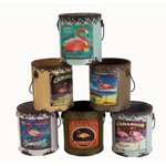 Rustic Paint Cans (set of 6) - Flamingo Pattern 115x110x120mm