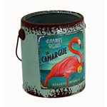 Rustic Paint Can - Aqua Flamingo 145x135x150mm