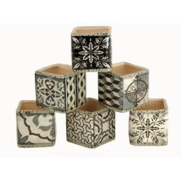 Rustic Cubes (set of 6) - Charcoal/White Pattern 75mmSq