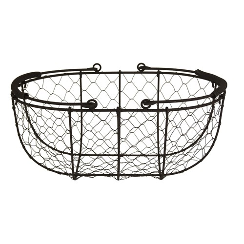 Metal and Wire Mesh Basket Black