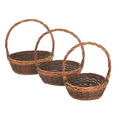 Round Willow Baskets with wooden Weave