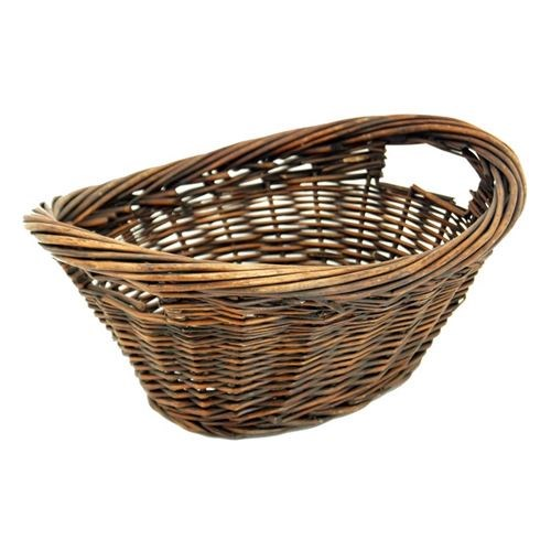Oval Mini Laundry Basket Grey/Brown
