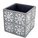 White Pattern on Grey Square Pot  14sq - 14sq