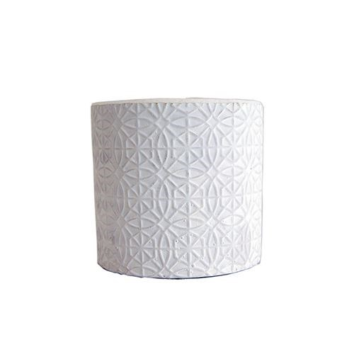 White Raised Pattern Round Pot Set of Six - Small