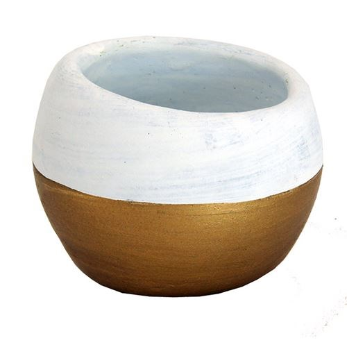 Small Cement Tapered Bowl 1/2 Gold - 12*12*10.5cm