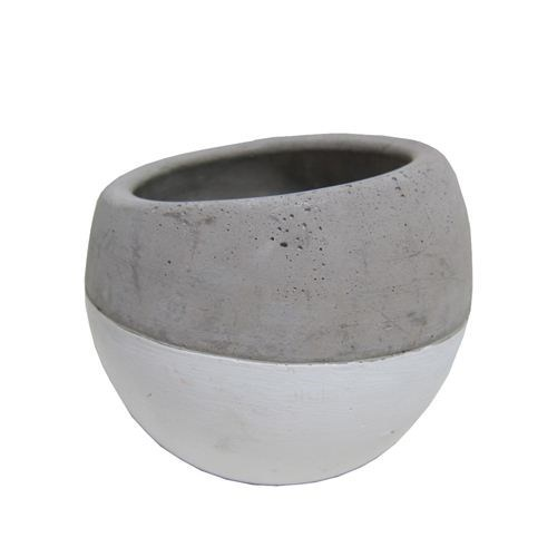 Small Cement Tapered Bowl 1/2 White - 12*12*10.5cm