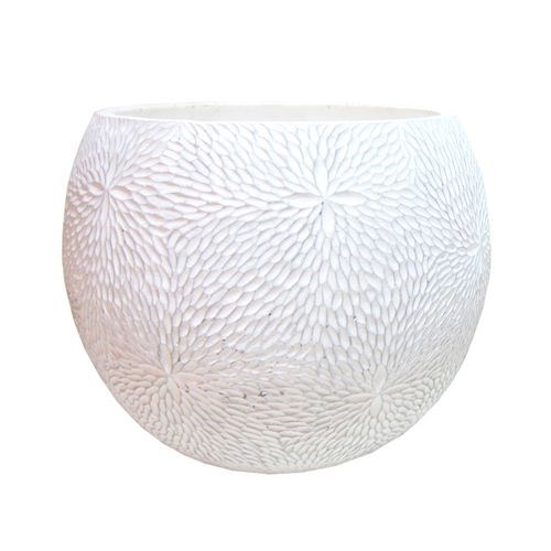 White Cement Patterned Sphere Pot Large - 30*30*24