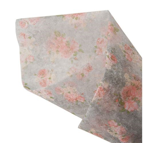 Pink Floral on Grey Non Woven 60cmx10m