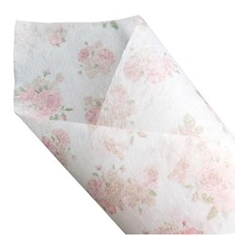 Pink Floral on White Non Woven 60cmx10m