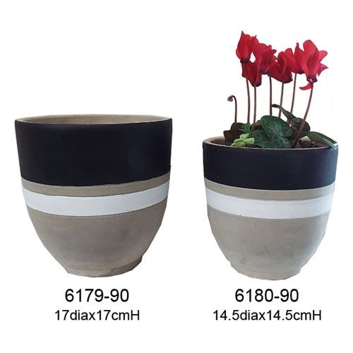 Grey Cement Pots Black and white stripe 17x17x9cm