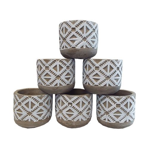 Aztec Cement Pots White Small - 8x8x7cm (Set 6)