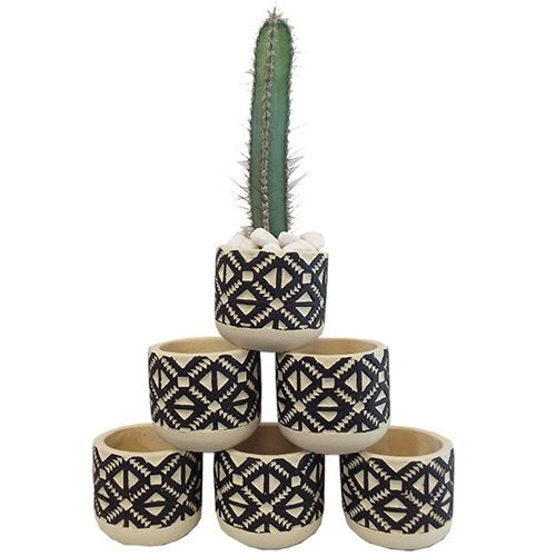 Aztec Cement Pots Black Small - 8x8x7cm (Set 6)