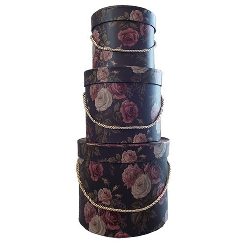 Round Flower Box Roses Set of 3