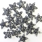 Wire Stars 20pk - Black 30mmD